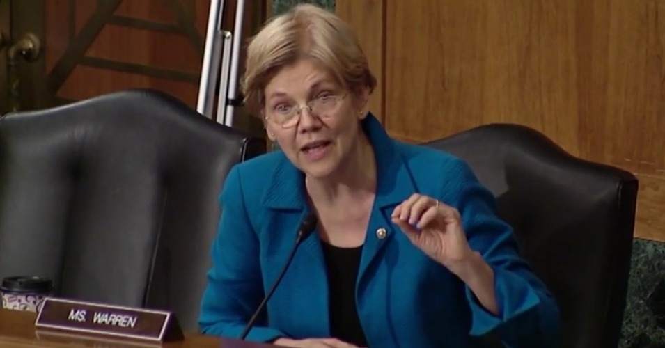 """My question is, given your track record at the Fed, why should anyone take you seriously now?"" Sen. Elizabeth Warren asked former Federal Reserve official Leonard Chanin on Tuesday. (Photo: Screenshot)"
