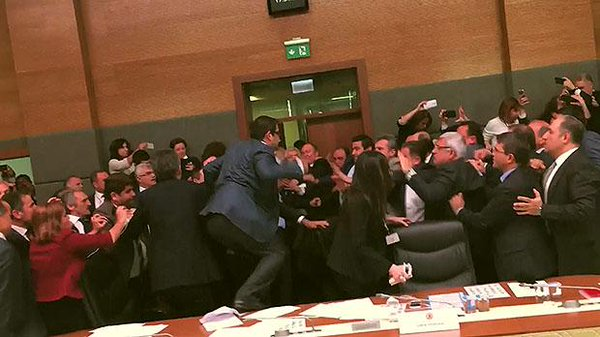 Fight breaks out in Turkish Parliament as discussion over stripping MPs of immunity, May 3, 2016. Image via Twitter.