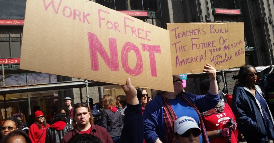 "Teachers say the bankruptcy claim is a ""scare tactic to get terrible legislation passed through that will give us money now but screw us all over even harder in the long run."" (Photo: DFT-Local 231/Twitter)"