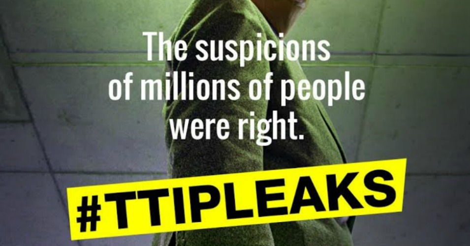 "WikiLeaks had previously announced a €100,000 ""bounty"" for the full TTIP text. (Image: Greenpeace)"