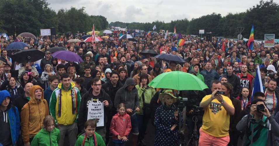 Thousands took to the streets in Germany to protest at U.S. Base in Ramstein