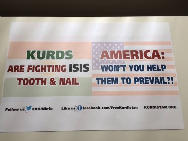 Banner to look for at both National Conventions to offer solidarity with Kurdish Americans. Image via Facebook.