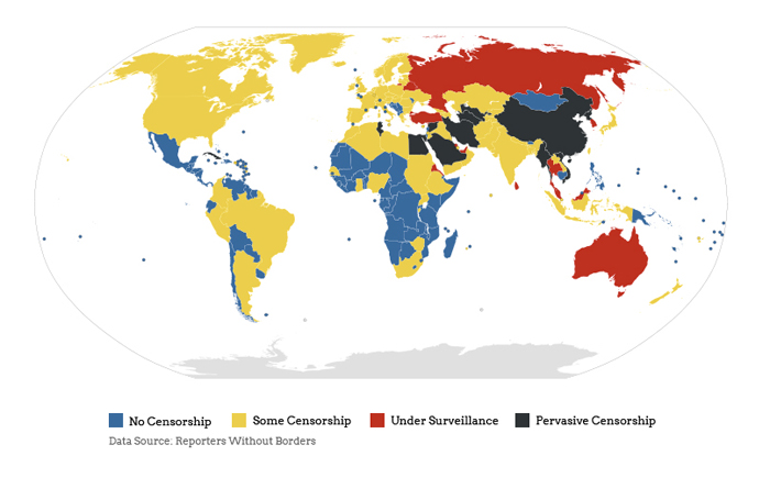 Internet censorship by country.