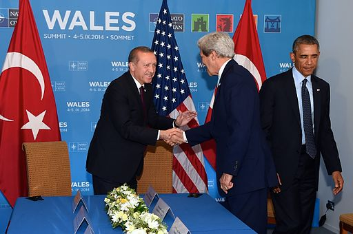Tayyip Erdogan, John Kerry and Barack Obama; Wales, 2014. Photo: Public domain via Wikimedia Commons