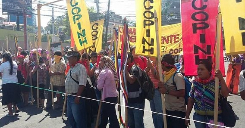 Members of COPINH hold a rally in Honduras during an international day of action for Berta Cáceres in June. (Photo: COPINH)