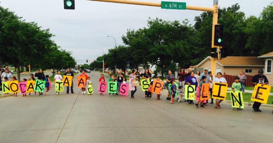 In addition to protests near the path of the pipeline, demonstrations took place this week in North Dakota's capital of Bismarck. (Photo: @RisingTideNA/Twitter)