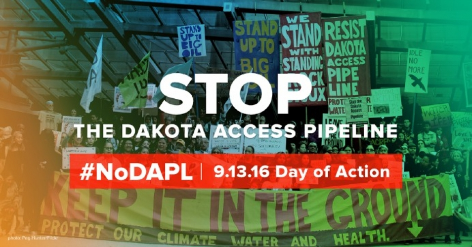 """To defeat a pipeline, it takes a movement of people from all corners of the nation,"" reads the call to action. (Photo by Peg Hunter/Flickr. Overlay via 350.org)"