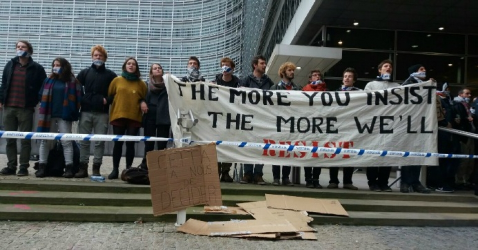 Campaigners protested the Canada-European Union trade agreement outside the European Commission on Thursday. (Photo via Corporate Europe/Twitter)