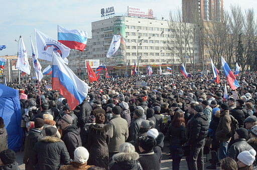 Pro-Russian protesters in Donetsk, March 2014. Photo: Andrew Butko [CC BY-SA 3.0], via Wikimedia Commons